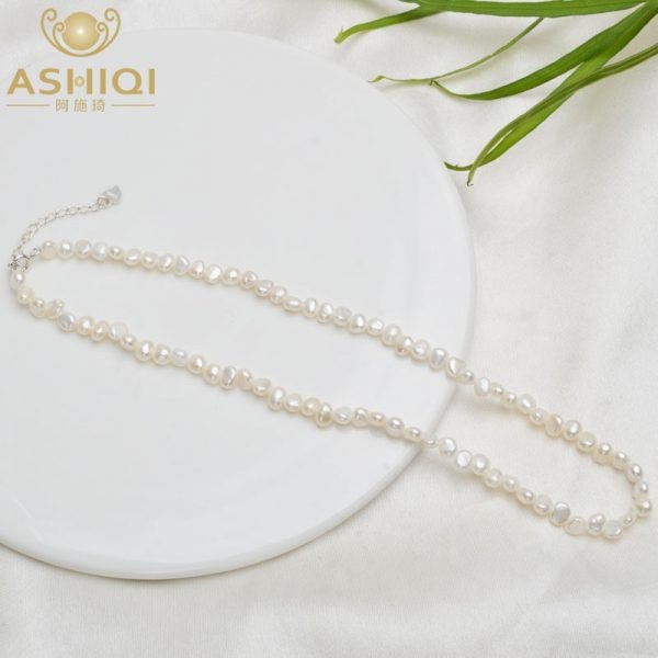 Ashiqi 4 5mm Natural Freshwater Pearl Choker Necklace Baroque Pearl Jewelry For Women With 925 Silver Clasp Derebbew Shoppe